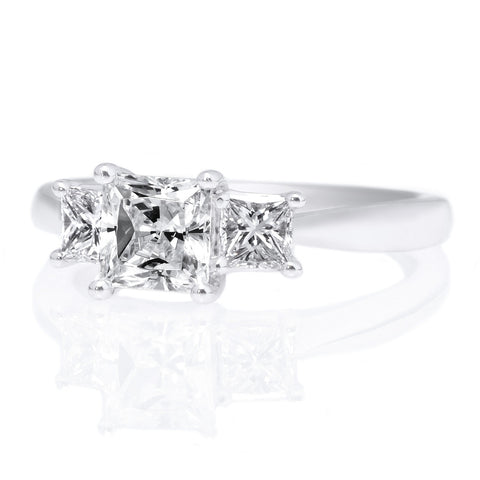 18K White Gold Three Stone Princess Cut Diamond Engagement Ring