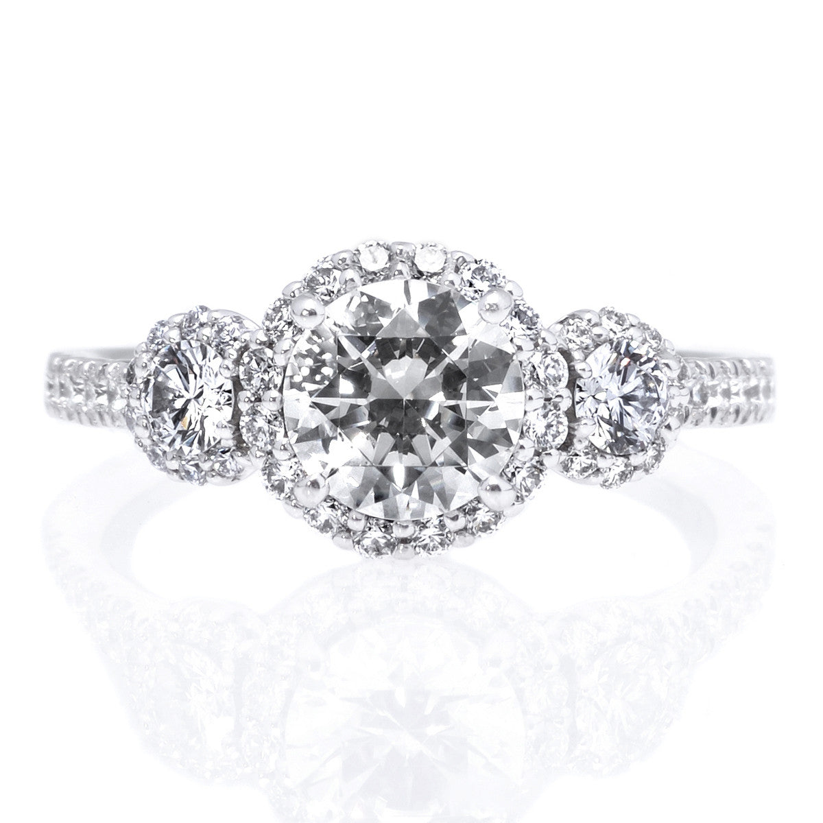 18K White Gold Three-Stone Halo Engagement Ring Setting