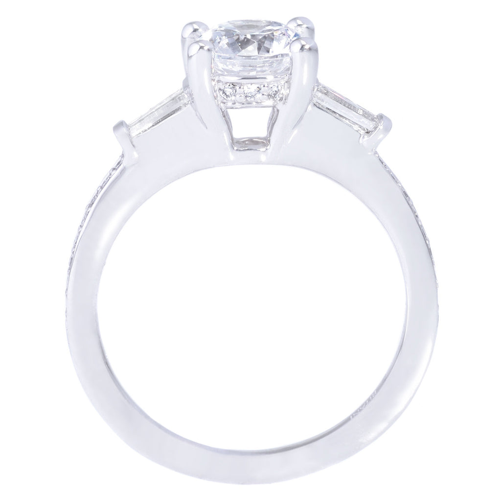 18K White Gold Tapered Baguette Engagement Ring