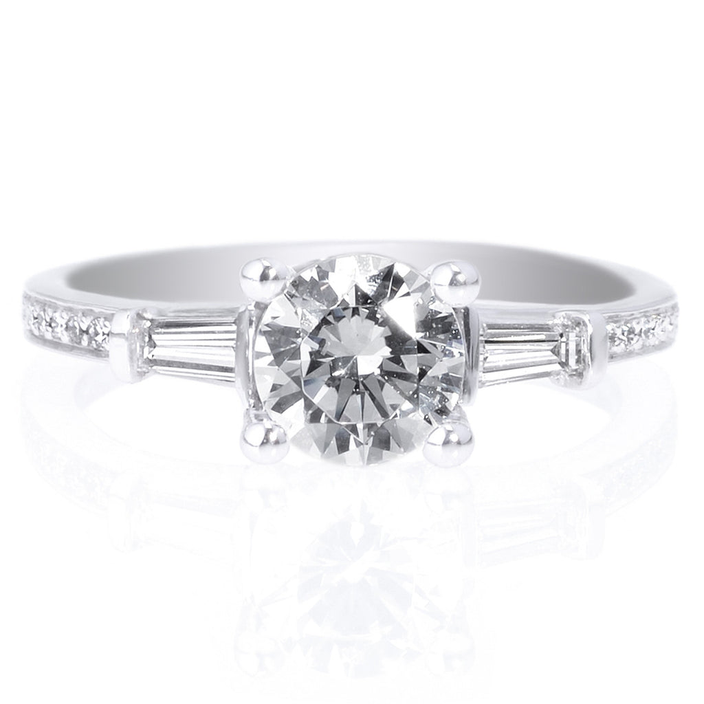 engagement ring diamond center side baguette round rings sylvie tapered bold