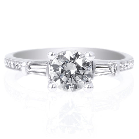 18K White Gold Three Stone Diamond Engagement Ring