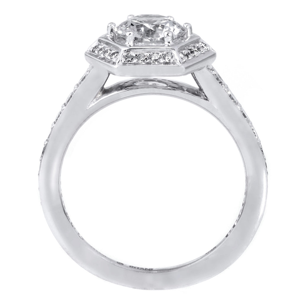 18K White Gold Vintage Hexagonal Halo Vaulted Diamond Band Engagement Ring