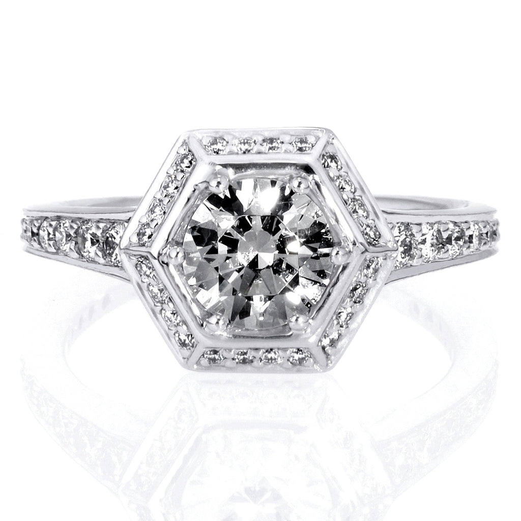 Platinum Vintage Hexagonal Halo Engagement Ring