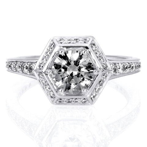 Platinum Vintage Hexagonal Halo Vaulted Diamond Band Engagement Ring