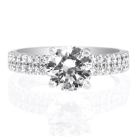 18K White Gold Double Row French-Set Engagement Ring Setting