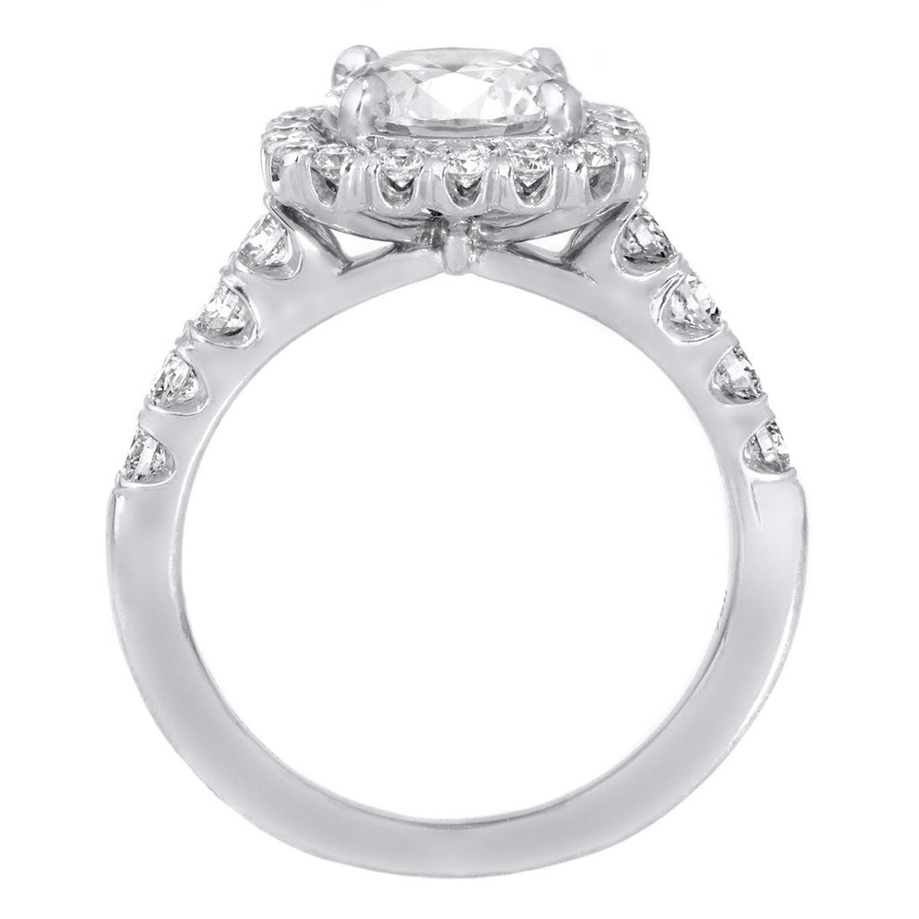 18K White Gold Masterwork Cushion Halo Diamond Band Engagement Ring