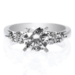 Platinum Graduated Diamond Engagement Ring