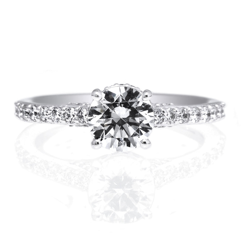18K White Gold Bella Vita French-Set Diamond Band Engagement Ring