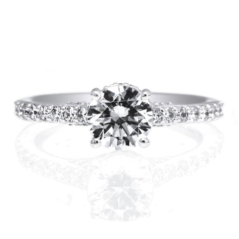 18K White Gold Bella Vita French-Set Engagement Ring