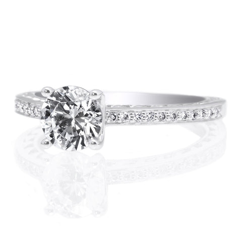18K White Gold Anadare Lattice Micro-Pave Engagement Ring