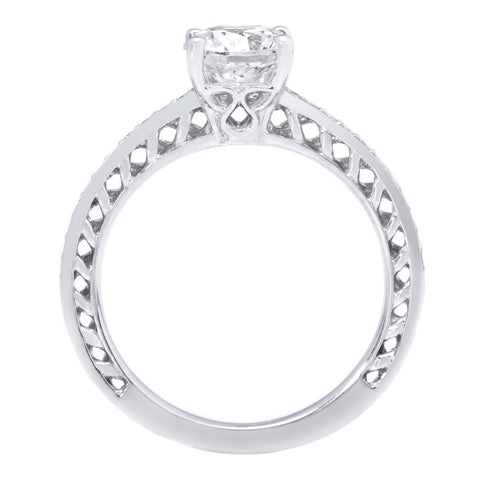 18K White Gold Anadare Lattice Micropave Diamond Band Engagement Ring