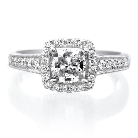 Platinum Cushion Halo Pave Milgrain Engagement Ring
