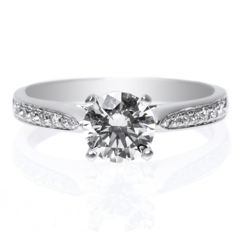 Platinum Channel Set 14 Stone Diamond Engagement Ring