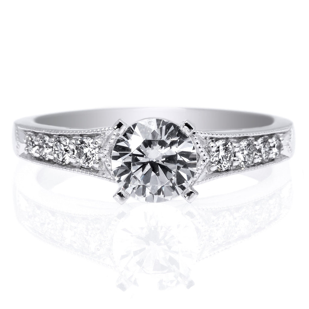 Platinum Eight-Stone Milgrain Engagement Ring
