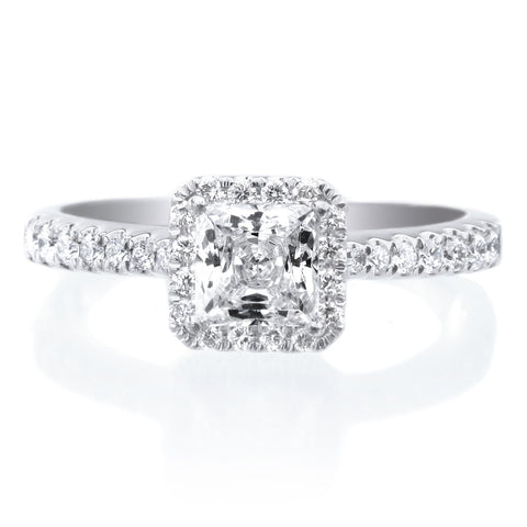 Platinum Princess Cut Halo Diamond Polished Engagement Ring