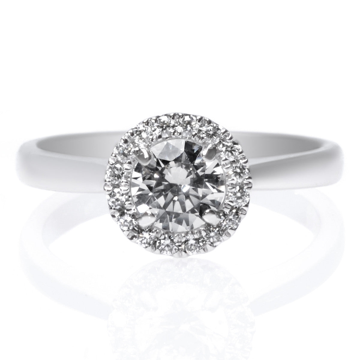 Platinum Polished Pave Diamond Halo Engagement Ring Long