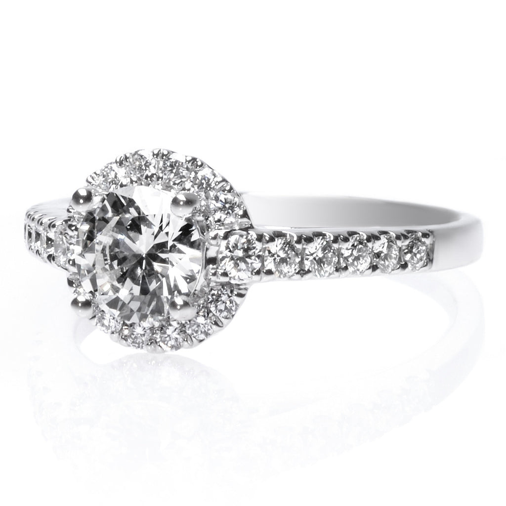 Platinum Round Pave Diamond Halo Engagement Ring