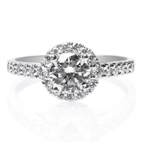 18K White Gold Round Diamond Engagement Ring With Unique Halo