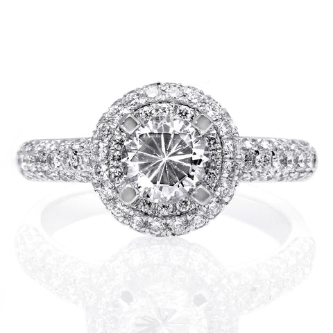 Platinum Round Halo and Pave Shoulder Engagement Ring