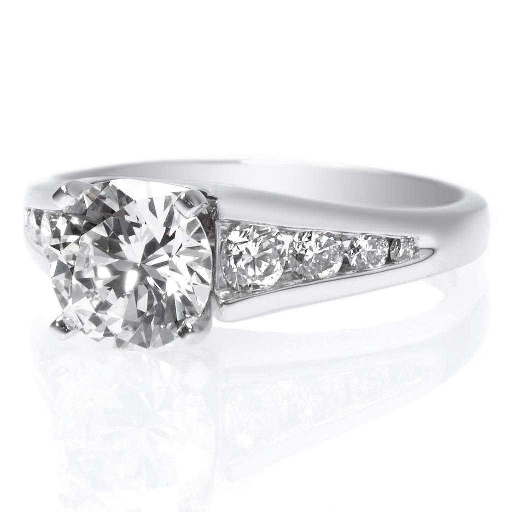 Platinum Graduated Channel Set Engagement Ring