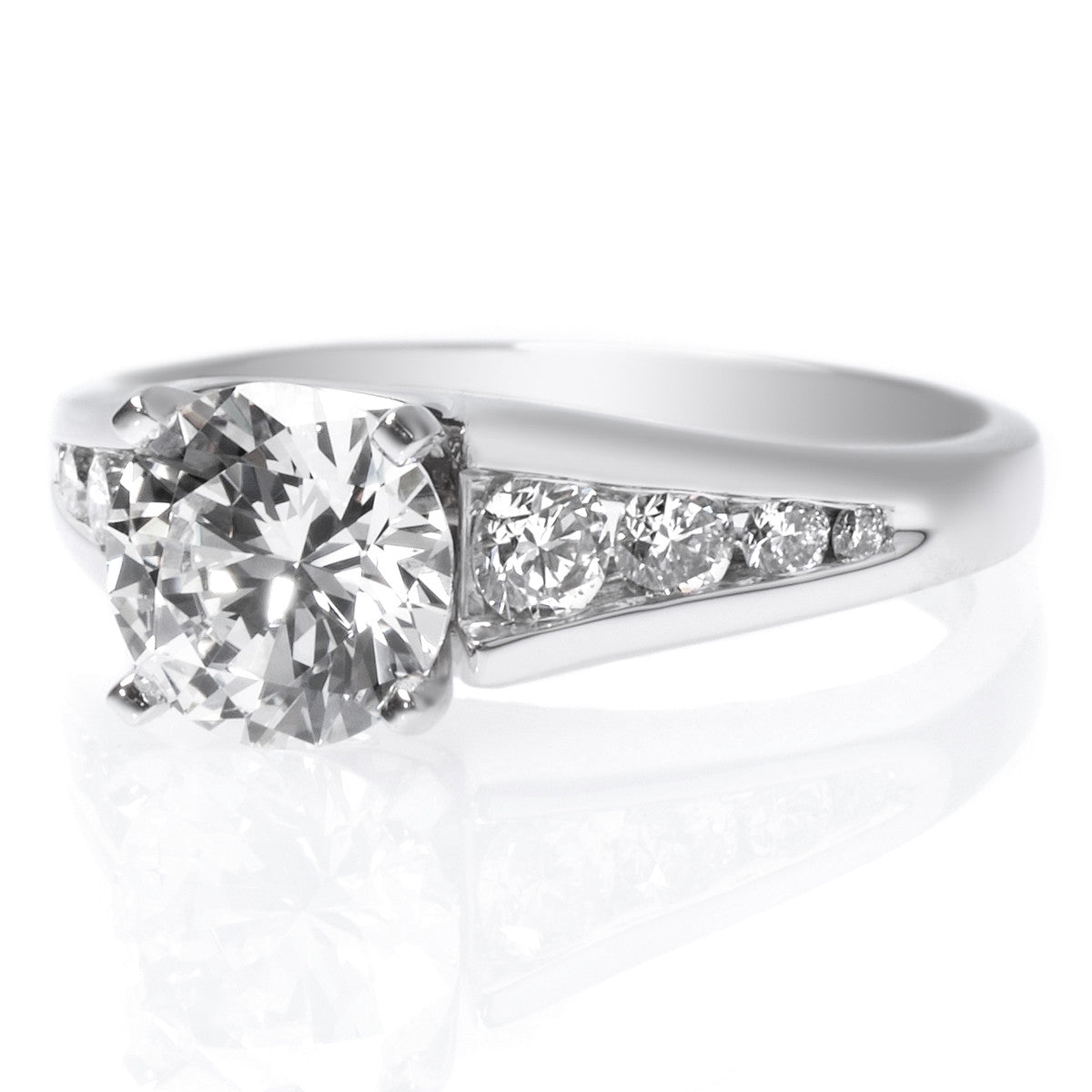 Platinum Graduated Channel Set Engagement Ring Setting