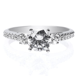 Platinum Solitaire Ten Stone Diamond Engagement Ring