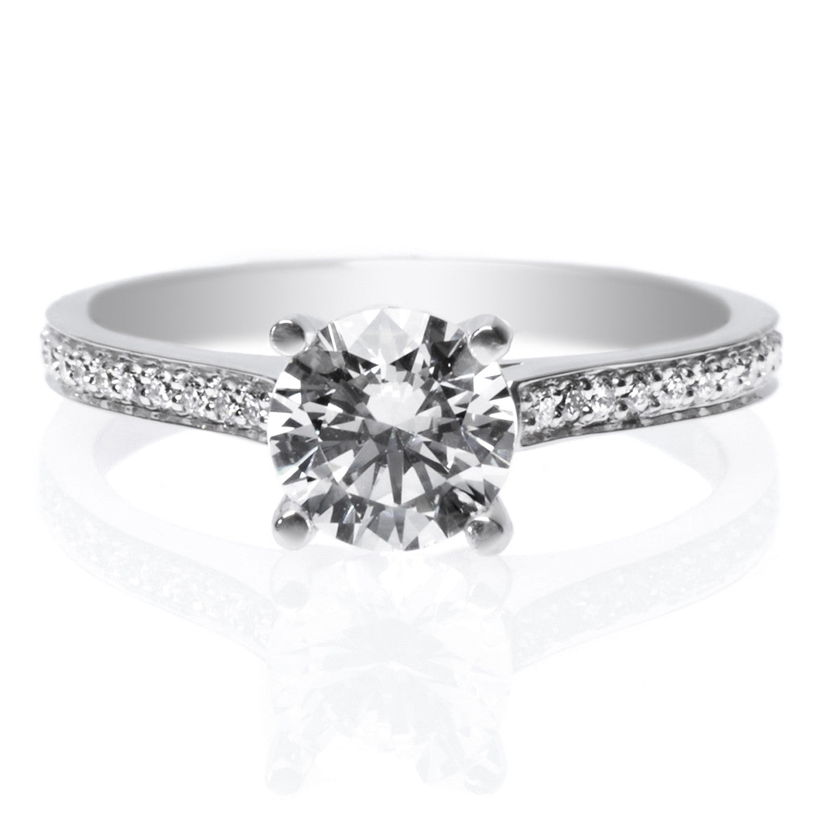 Platinum Channel Set Four Prong Diamond Engagement Ring with Milgrain