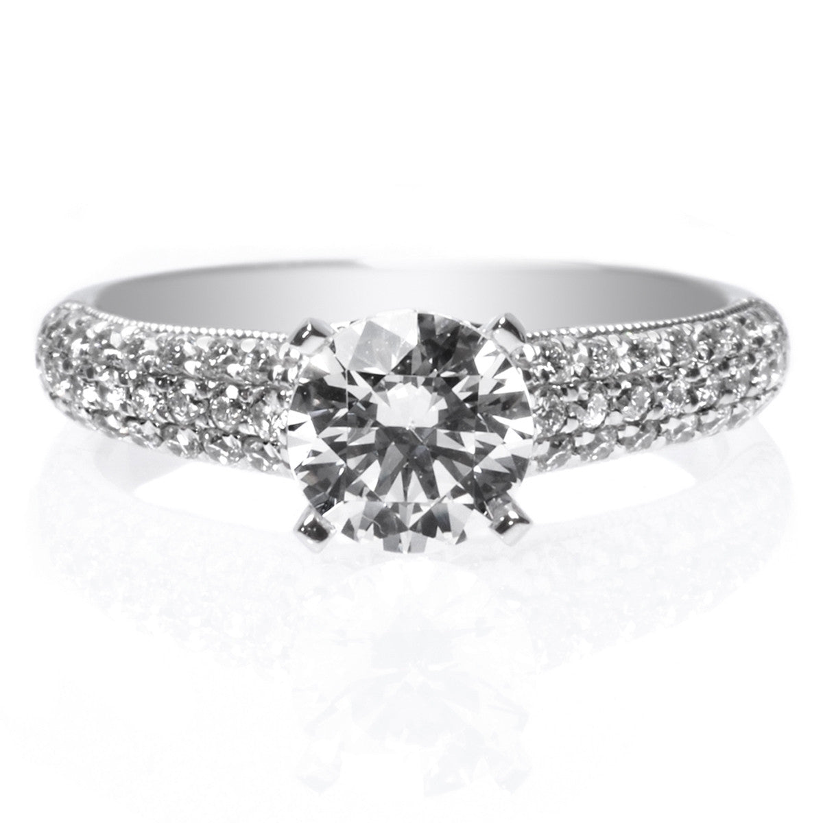 Platinum Three Row Pave Diamond Engagement Ring