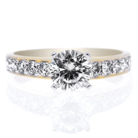 18K Yellow Gold and Platinum 10-Stone Channel-Set Engagement Ring