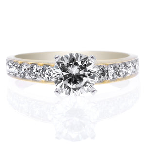 18K Yellow Gold and Platinum 10-Stone Channel-Set Engagement Ring Setting
