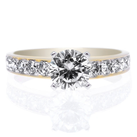 18K Yellow Gold and Platinum 10 Stone Channel-Set Diamond Engagement Ring