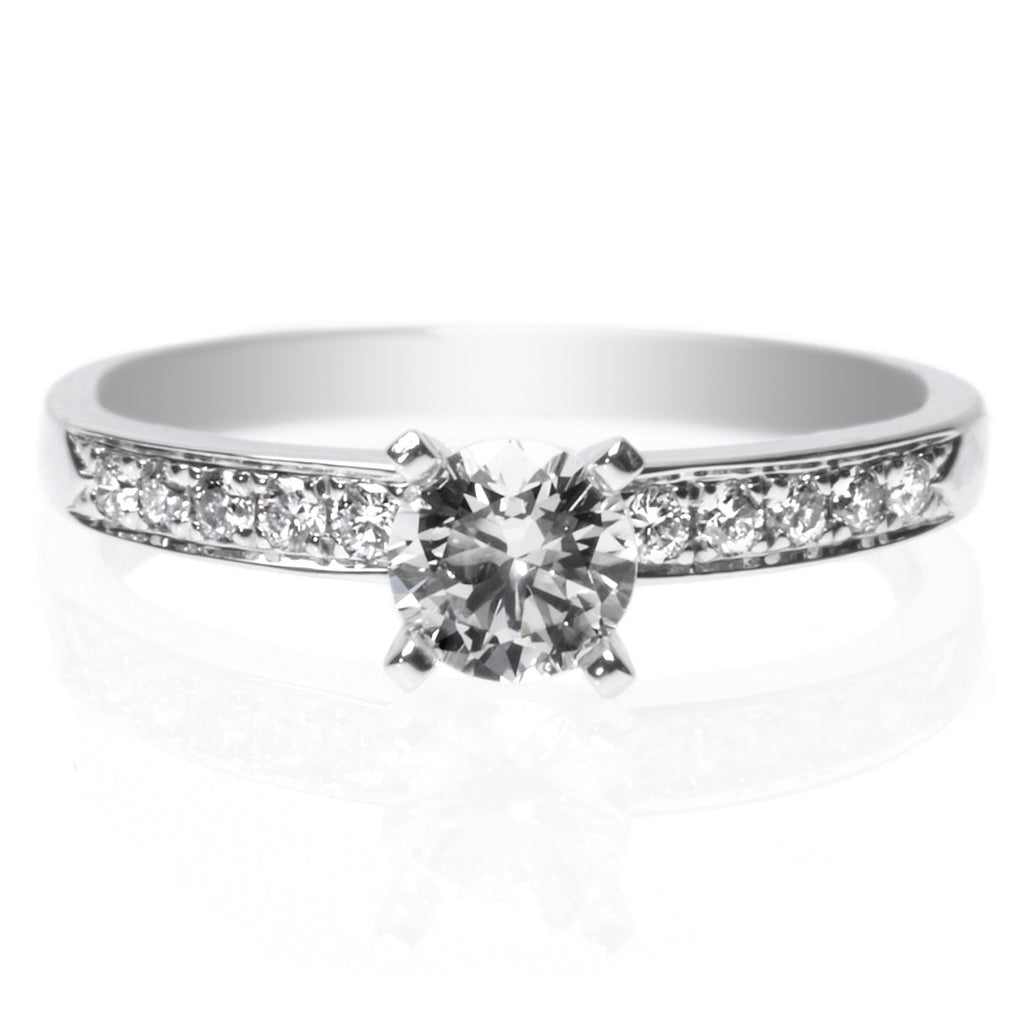 18K White Gold Four-Prong 10-Stone Engagement Ring