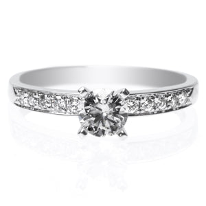 18K White Gold Four-Prong 10-Stone Engagement Ring Setting