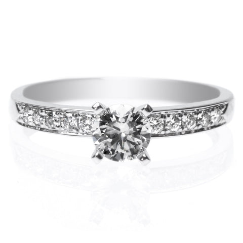 18K White Gold Classic Tapered Channel-Set Diamond Band Engagement Ring