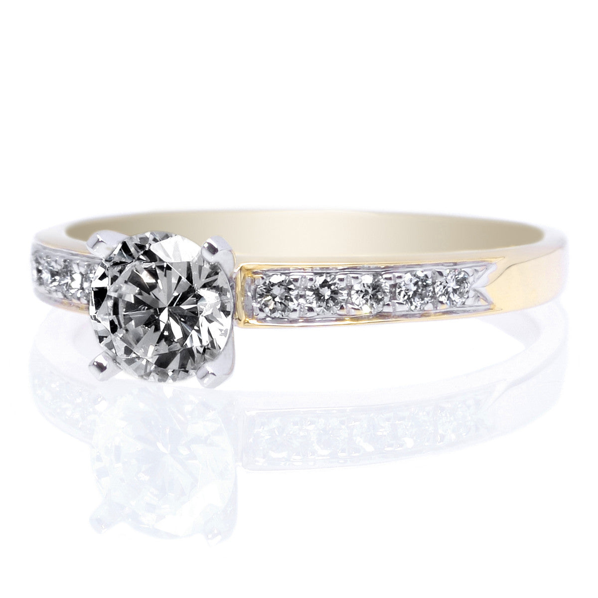 18K Yellow Gold and Platinum 10-Stone Engagement Ring Setting