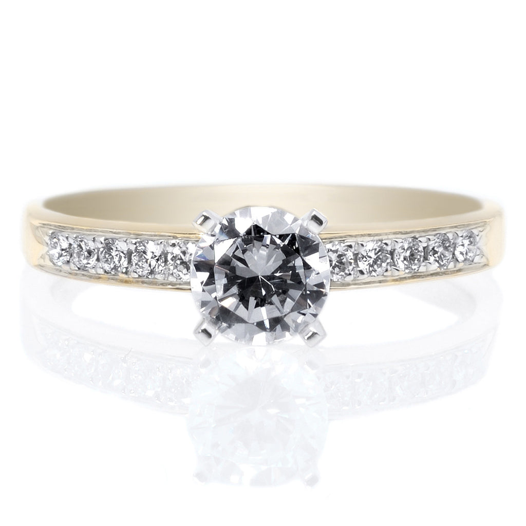 18K Yellow Gold and Platinum 10 Stone Diamond Engagement Ring