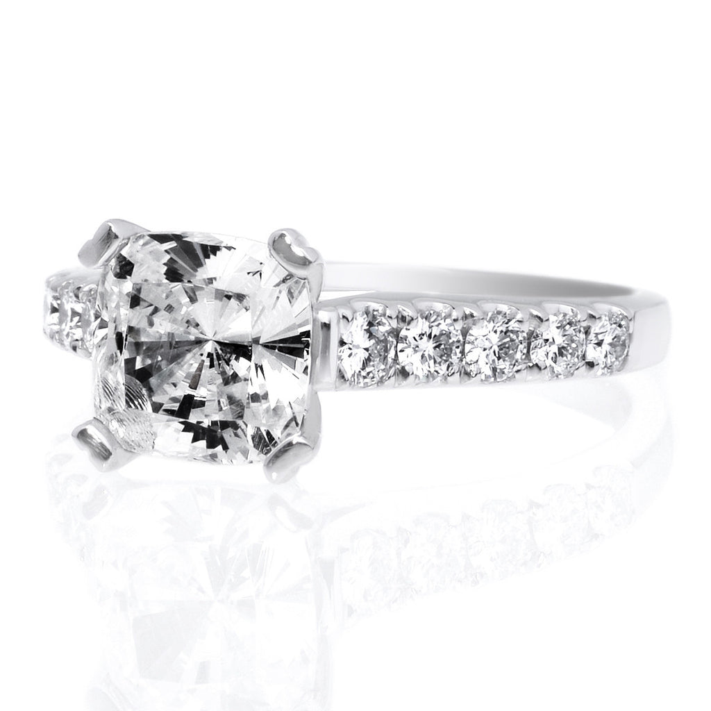 Platinum 10 Stone Cushion Cut Diamond Engagement Ring