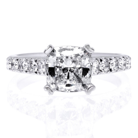 Platinum 10-Stone Cushion Cut Engagement Ring