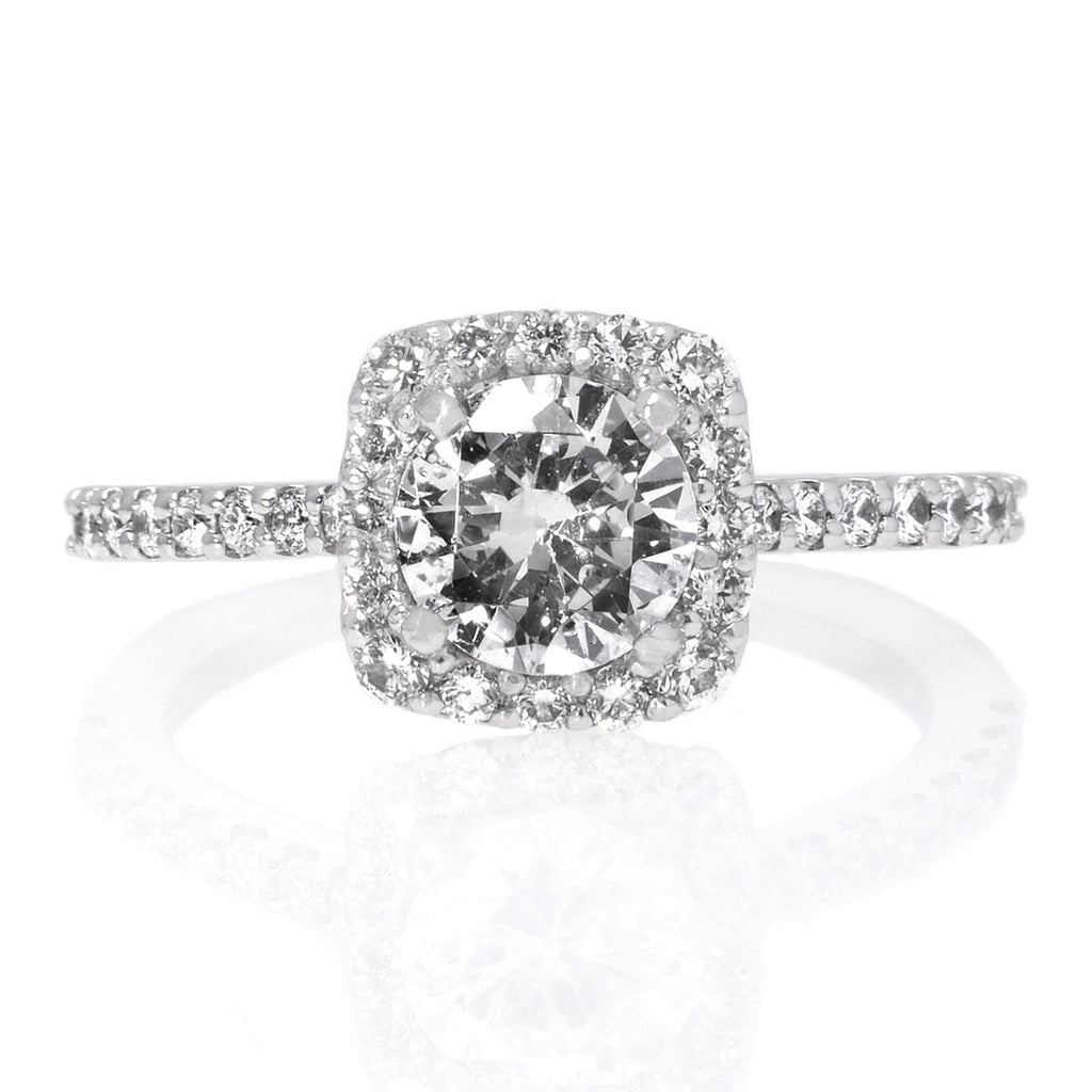 halo oval gallery petite french cathedral diamond rings in engagement white flat ring v style a enr pave edge pav