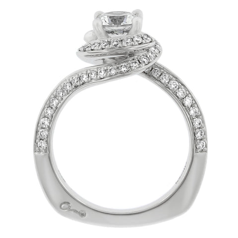 18K White Gold Diamond Halo Swirl Engagement Ring