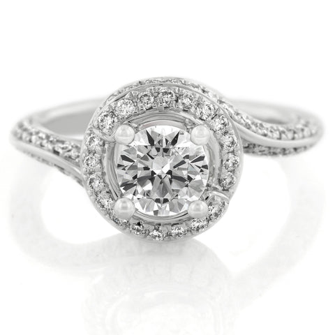 18K White Gold Diamond Halo with Tapered Shoulders Engagement Ring