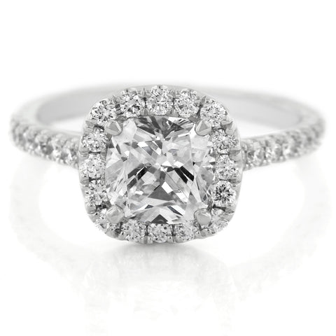 18K White Gold Cushion Shaped Diamond Halo Engagement Ring