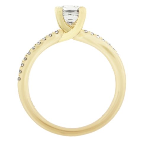 18K Yellow Gold Twisted Diamond Engagement Ring
