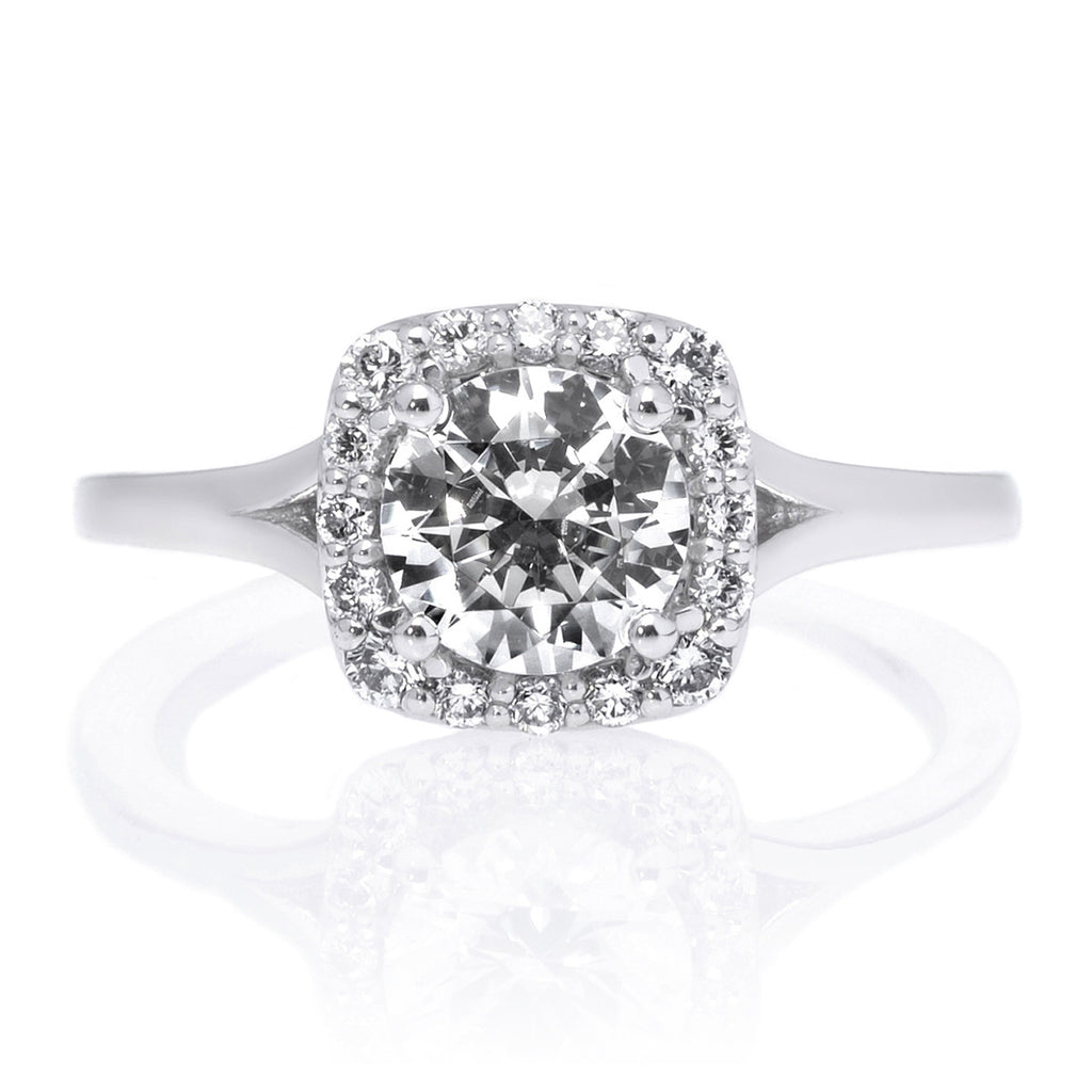 Platinum Bella Vita Halo French-Set Diamond Engagement Ring