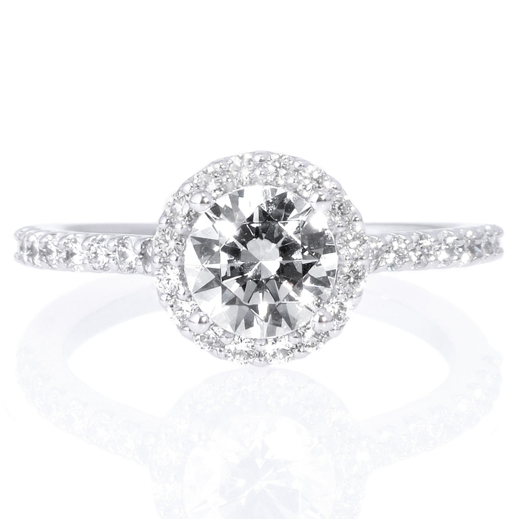 Platinum French-Set Halo Engagement Ring