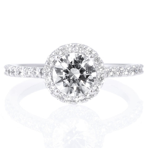 18K White Gold Tapered Baguette Diamond Band Engagement Ring