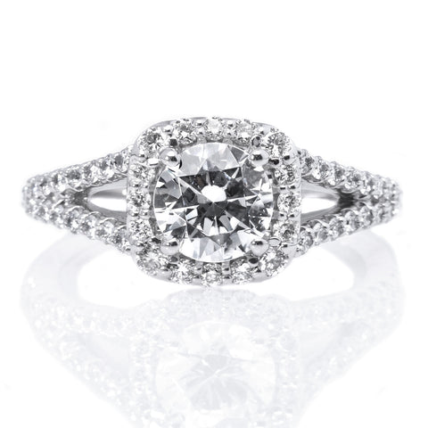 "Platinum Cushion Halo ""V"" Band Engagement Ring"