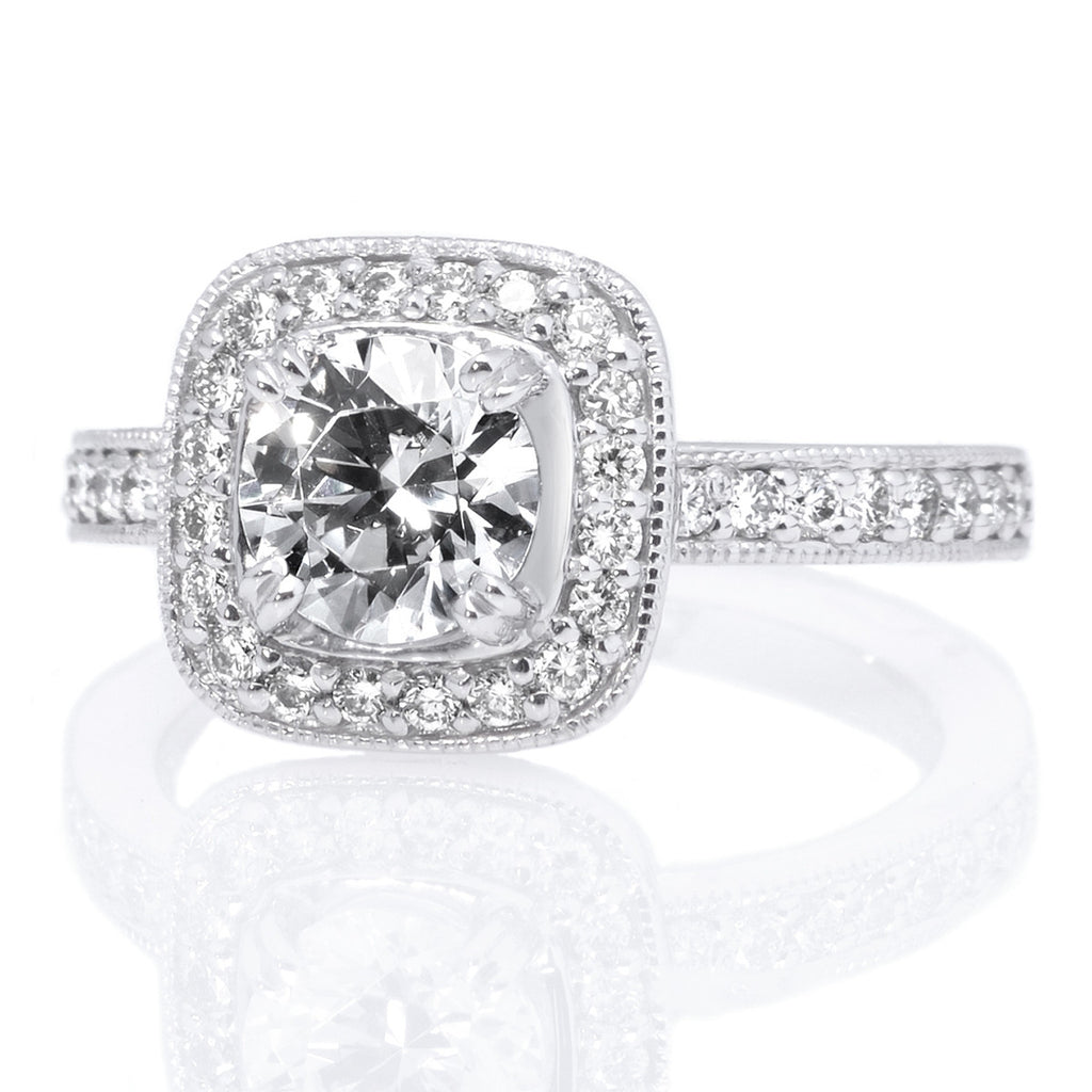 Platinum Endless Love Vintage Cushion Halo Diamond Band Engagement Ring with Surprise Diamonds