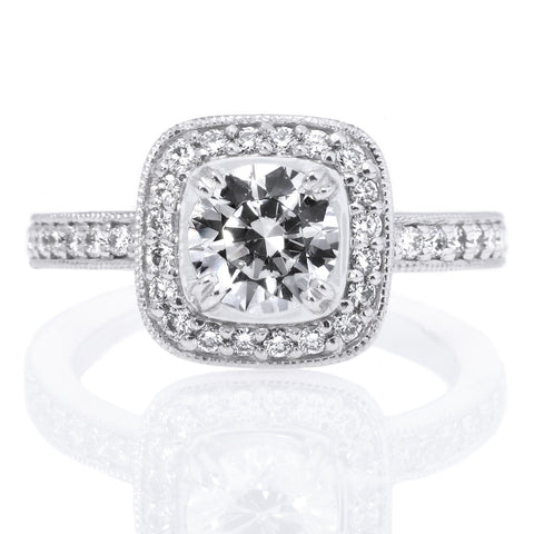 Platinum Endless Love Vintage Cushion Halo Engagement Ring with Surprise Diamonds