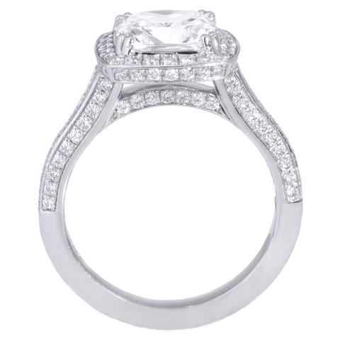 Platinum Cushion Pave Diamond Halo Engagement Ring